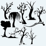 Collection of bare trees. On blue background. Vector silhouettes Stock Image