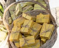 Collection of bars of hand made soap. Collection of bars of fragrant hand made organic soap Royalty Free Stock Image