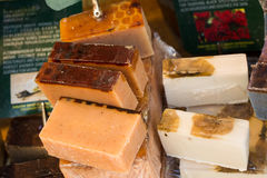 Collection of bars of hand made organic soap Royalty Free Stock Photo