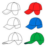 Collection of baseball caps Royalty Free Stock Images
