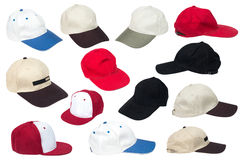 Collection of baseball caps. Isolated on a white background Royalty Free Stock Image