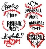 Collection of baseball mom inscriptions. Set of lettering baseball mom. Vector illustration of lettering for clothes.