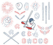 Collection of Baseball symbols Royalty Free Stock Image