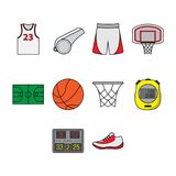Flat color basketball icon set Stock Images
