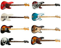 Collection of bass guitars Royalty Free Stock Photo