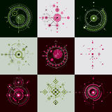 Collection of Bauhaus retro wallpapers, art vector background ma Stock Photography