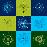 Collection of Bauhaus retro wallpapers, art vector background ma Royalty Free Stock Photo