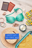 Collection of beach clothing, top view. Royalty Free Stock Image