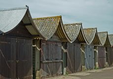 A collection of Beach Huts, Sutton on Sea. Royalty Free Stock Photos