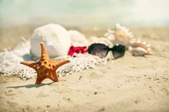 Collection of beach items Stock Images
