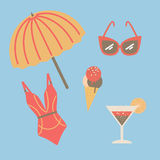Collection of beach summer accessories. Stock Photography