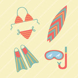 Collection of beach summer accessories. Royalty Free Stock Photos