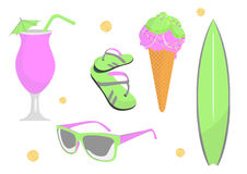 Collection of beach and summer elements Royalty Free Stock Photo
