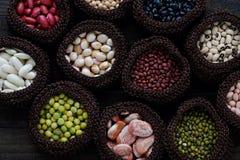 Collection of bean, fiber food make heart health Stock Photos