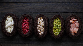 Collection of bean, fiber food make heart health Royalty Free Stock Image