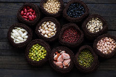 Collection of bean, fiber food make heart health Royalty Free Stock Photo