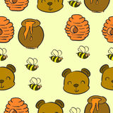 Collection bear and honey pattern style Royalty Free Stock Photography