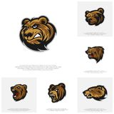 Collection of Bear Logo design vector. Modern professional grizzly bear logo for a sport team.  stock illustration