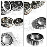 Collection bearing. Collection of bearings on a white background with drafts Stock Photos
