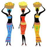 Collection. Beautiful Afro-american lady. The girl has a basket on her head with persimmons, bananas, oranges. Women are slim and vector illustration