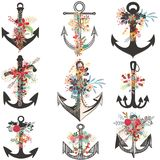 Collection of beautiful anchors decorated. By flowers Stock Images