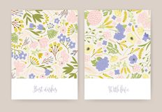 Collection of beautiful birthday greeting card or postcard templates with gorgeous colorful blooming flowers and leaves. And elegant inscriptions handwritten vector illustration