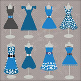 Collection of beautiful blue dresses Stock Photos
