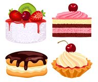 Collection of beautiful cakes Stock Photos