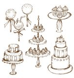 Collection of beautiful cakes Royalty Free Stock Image