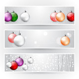 Collection of beautiful Christmas banners. Flyers with Christmas balls and snow; vector bright Stock Photo