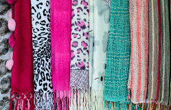 Collection of beautiful colorful scarves Royalty Free Stock Images