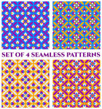 Collection of 4 beautiful decorative seamless patterns with geometric ornament of violet, blue, yellow and white shades. Set of 4 abstract beautiful decorative Royalty Free Stock Photography