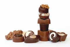 Collection of beautiful delicious chocolate candies, Royalty Free Stock Images