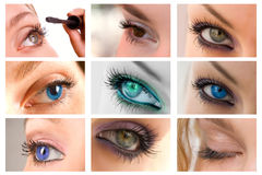 Collection of beautiful eyes Royalty Free Stock Photos
