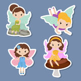 Collection of beautiful fairy stickers Royalty Free Stock Photo