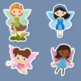 Collection of beautiful fairy stickers Royalty Free Stock Image