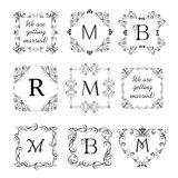 Collection of beautiful frames for wedding design, menu card, restaurant, cafe, hotel, jewellery store, logo templates, monogram Stock Photo