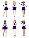 Collection of beautiful girls in the form of a sailor stylish, vector illustration royalty free illustration