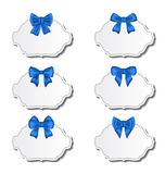 Collection beautiful labels with blue gift bows Stock Images