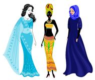 A collection of beautiful ladies. A Muslim, an African-American girl and an Indian woman. National clothes. Set of vector. Illustrations stock illustration