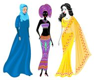 A collection of beautiful ladies. A Muslim, an African-American girl and an Indian woman. National clothes. Set of vector. Illustrations vector illustration