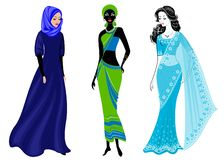 A collection of beautiful ladies. A Muslim, an African-American girl and an Indian woman. National clothes. Set of vector. Illustrations royalty free illustration