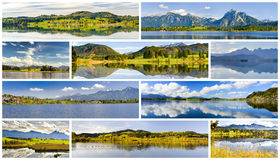 Collection of beautiful panorama landscape in Bavaria Royalty Free Stock Photo