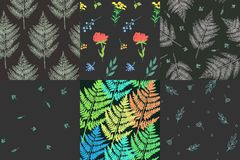 Picture with plants. Collection of beautiful patterns with plants and flowers.  Amenities of nature. Vector illustration Royalty Free Stock Images