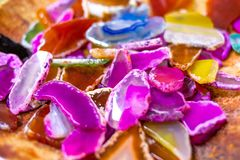 Collection of beautiful pink agathe stones close up royalty free stock images