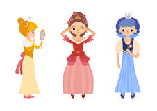 Collection of 3 beautiful princesses in different poses Royalty Free Stock Photography