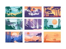 Collection of beautiful scene of nature, peaceful landscape with animals in different time of day, templates for banner. Poster, magazine, cover horizontal vector illustration