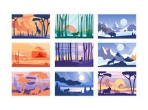 Collection of beautiful scene of nature, peaceful landscape with wild animals in different time of day, templates for. Banner, poster, magazine, cover royalty free illustration