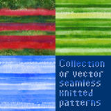 Collection of beautiful seamless vector knitted patterns Stock Images