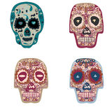Collection of beautiful skulls on white background Stock Photo